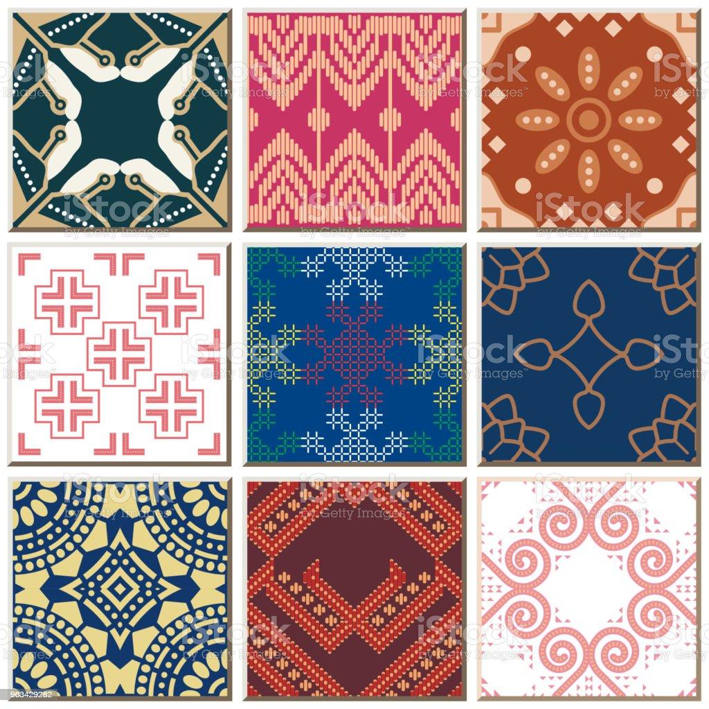 Oriental antique retro ceramic tile pattern combo collection set - Grafika wektorowa royalty-free (Antyczny)