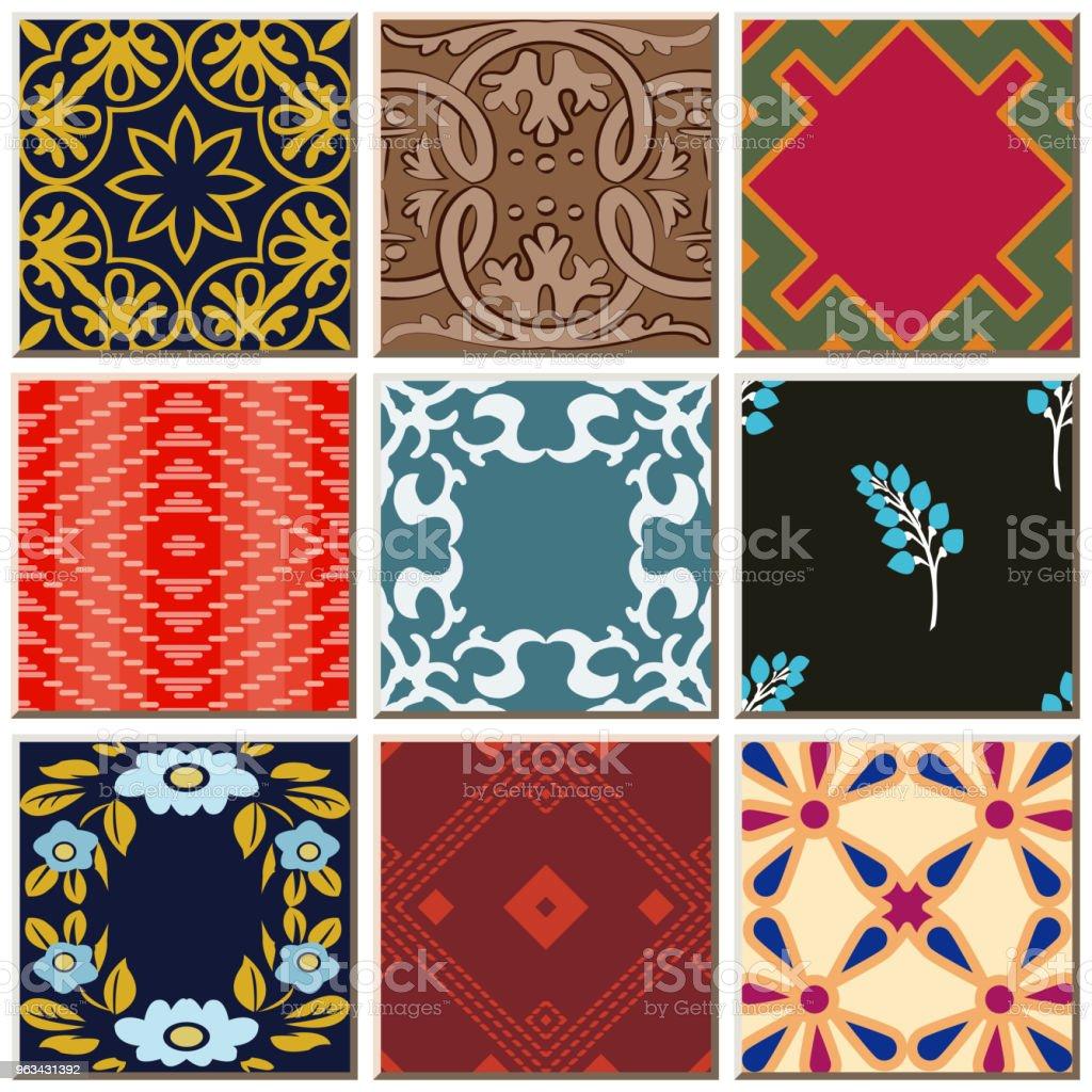 Orientalny antyczny retro ceramiczny wzór płytki combo zestaw kolekcji - Grafika wektorowa royalty-free (Antyczny)