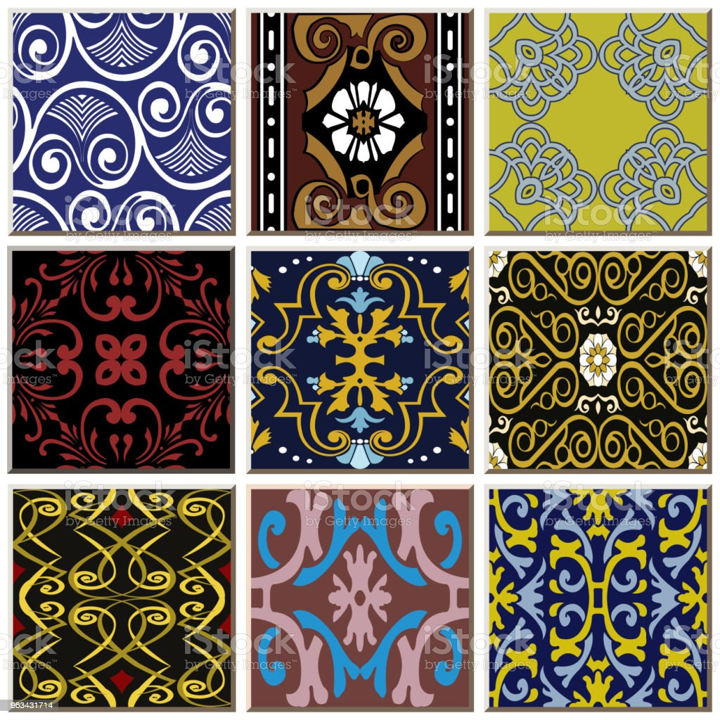 Oriental antique retro ceramic tile pattern combo collection set - Grafika wektorowa royalty-free (Antyczny)