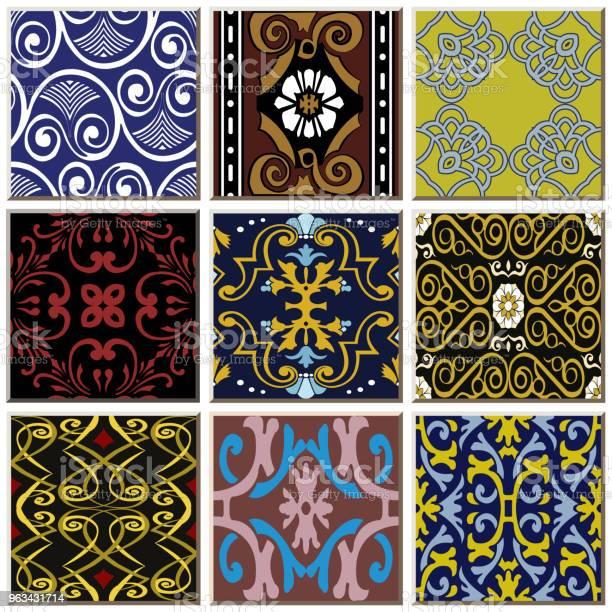 Orientalny Antyczny Retro Ceramiczny Wzór Płytki Combo Zestaw Kolekcji - Stockowe grafiki wektorowe i więcej obrazów Antyczny