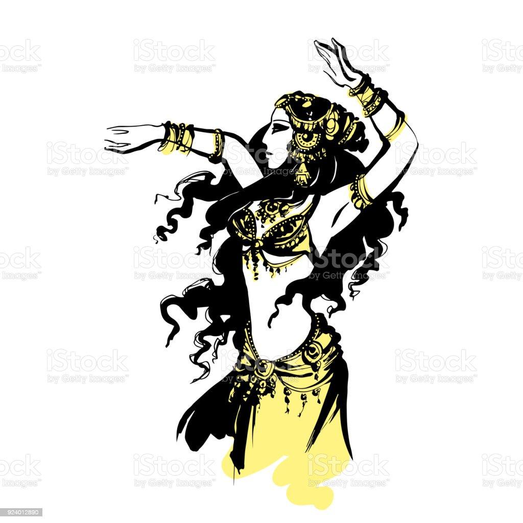 oriental bellydance vector art illustration