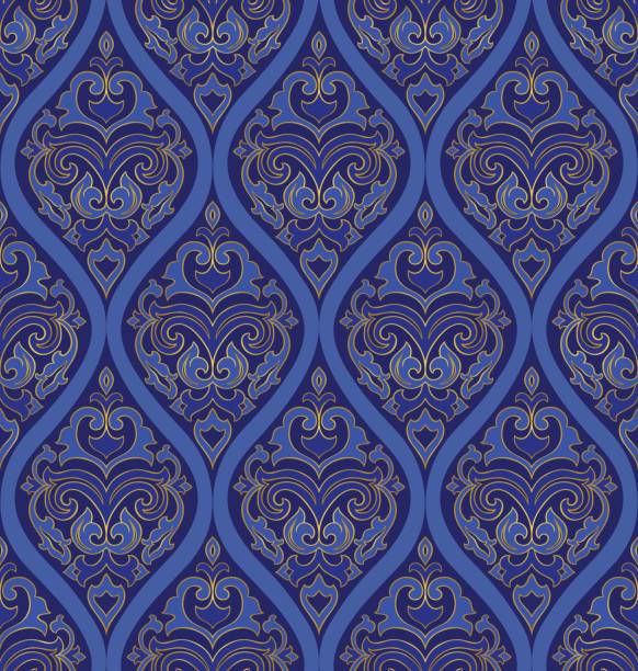 Oriental blue ornament. Oriental blue ornament. Template for carpet, textile, wallpaper and any surface. Seamless colorful pattern of gold contour on a purple background. tapestry stock illustrations