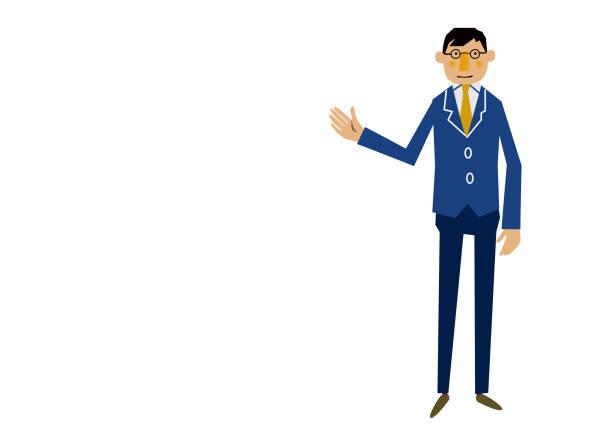 東洋ビジネス人がスーツを着ています。 - 教授点のイラスト素材/クリップアート素材/マンガ素材/アイコン素材