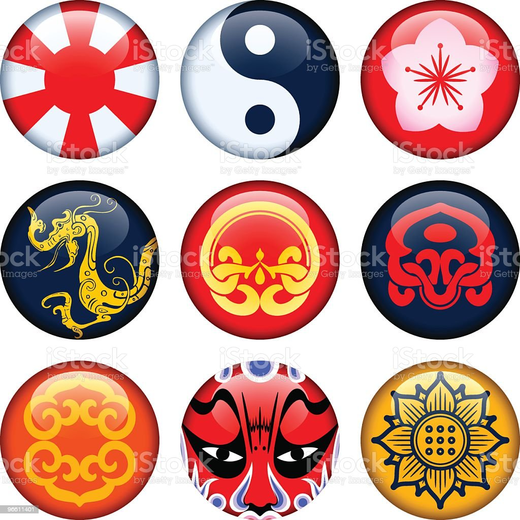 oriental button - Royalty-free Badge stock vector