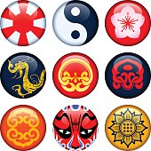 Buttons in oriental theme.