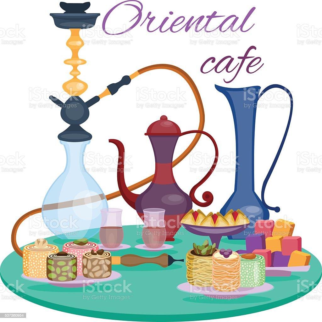 Oriental cafe banner. Dessert table vector art illustration
