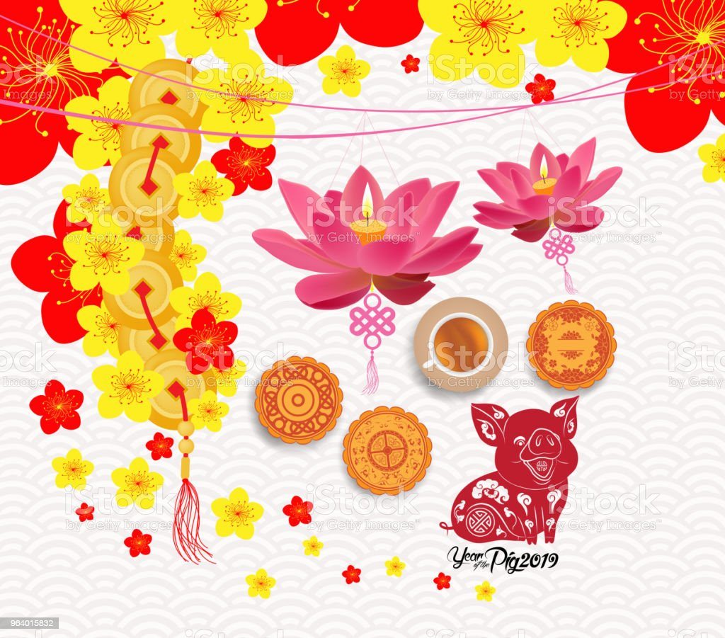 Oriental Chinese New Year background with lantern, tea and cake. Year of the pig - Royalty-free 2019 stock vector