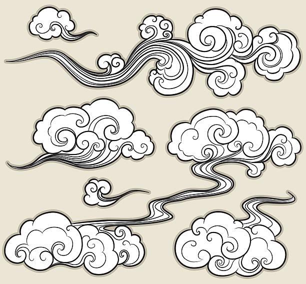 oriental cloud vector art illustration