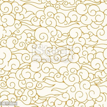 Oriental clouds pattern. Chinese or japanese sky ornament texture, asian clouds background