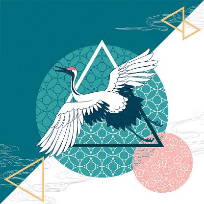 oriental crane on a geometry background