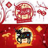 A vector illustration to show oriental decoration Ox banner