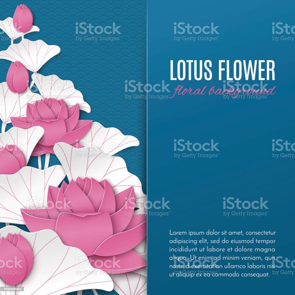 Tebrik kartı, poster, afiş veya kare el ilanı dekorasyon için mavi desen zemin üzerinde pembe kağıt lotus çiçek dekorasyonu ile oryantal çiçek arka plan vektör sanat illüstrasyonu