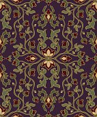 Oriental floral ornament. Template for carpet, textile and any surface. Seamless vector pattern on a purple background.