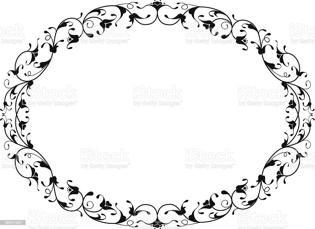 oriental floral ornamental black oval frame royalty-free stock vector art