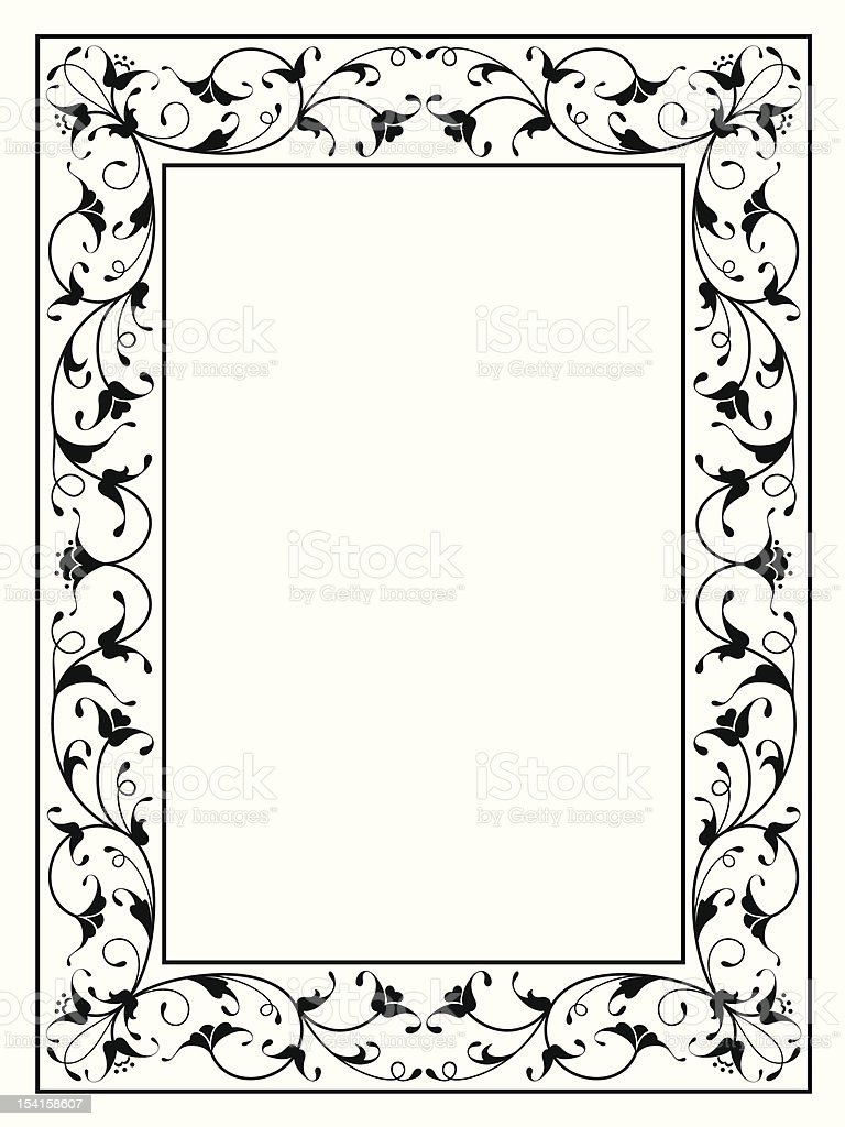 oriental floral ornamental decorative black frame royalty-free stock vector art