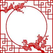 Oriental floral frame
