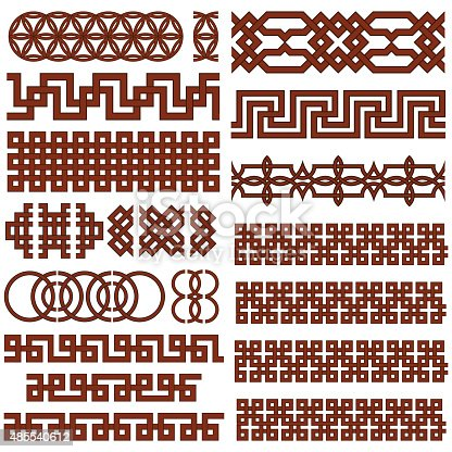 Set of 17 Oriental Geometrical Seamless Borders. Suitable for  Creating Pattern Brushes.