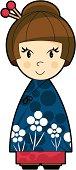 Cute Little Oriental Girl in Blue Dress