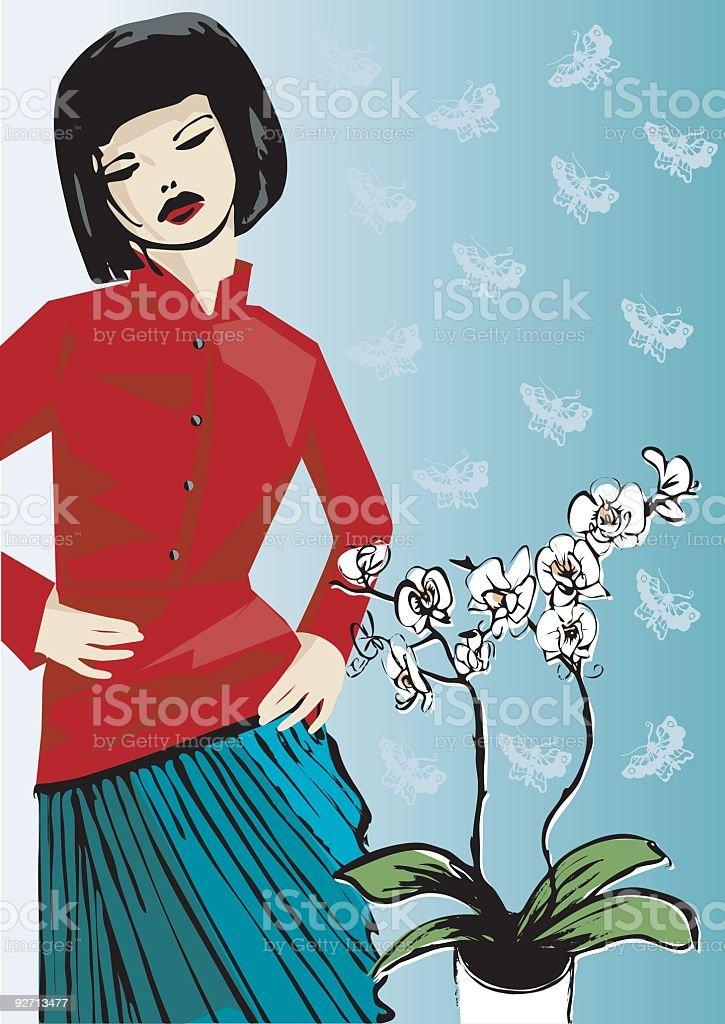 Oriental girl royalty-free stock vector art