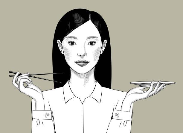 ilustraciones, imágenes clip art, dibujos animados e iconos de stock de chica oriental con el pelo largo sostiene palillos y plato en sus manos - asian woman