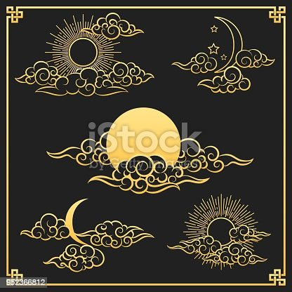 istock Oriental gold clouds, sun and moon 952366812