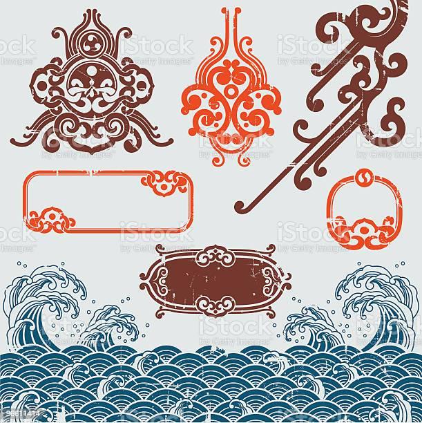 Oriental Grunge-vektorgrafik och fler bilder på Blommönster
