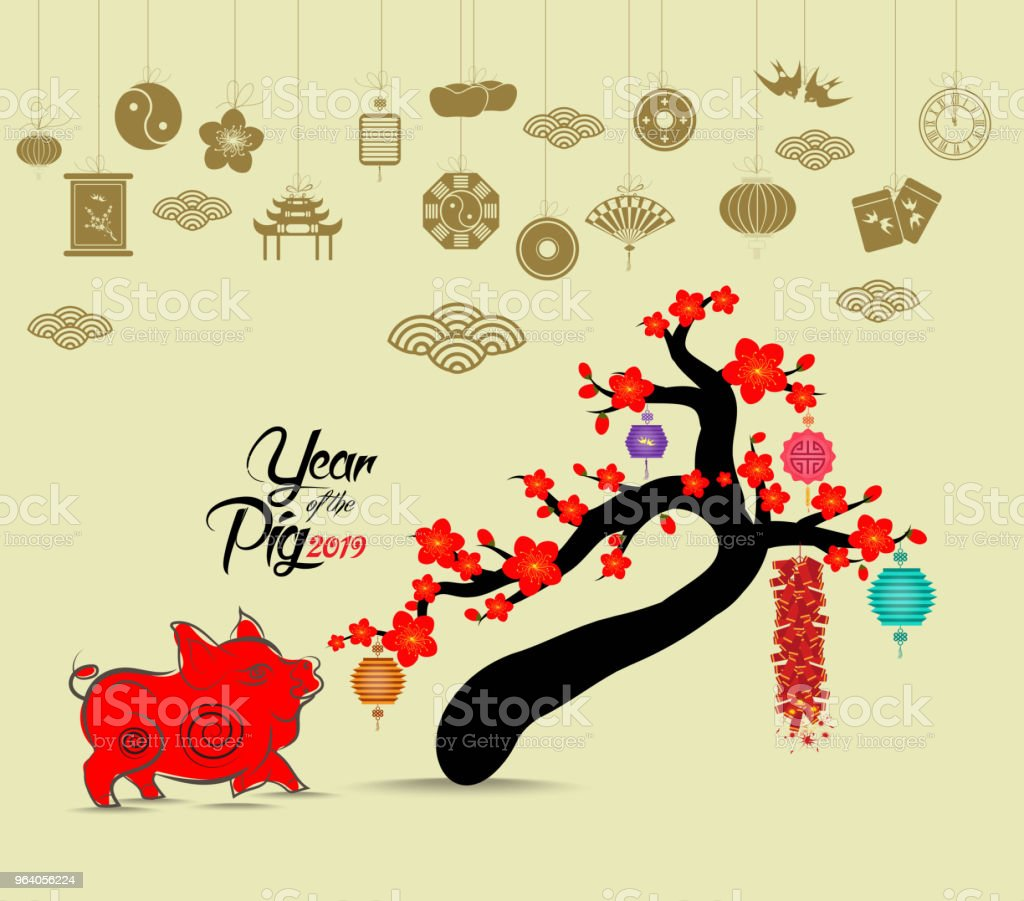 Oriental Happy Chinese New Year 2019 blossom. Pig chinese baclground - Royalty-free 2019 stock vector