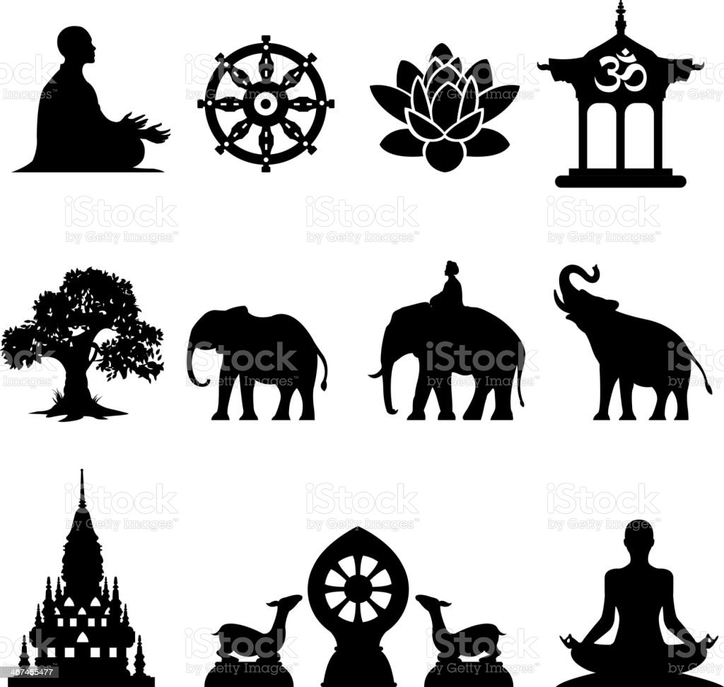 Oriental icons set. Symbols of the Buddha vector art illustration