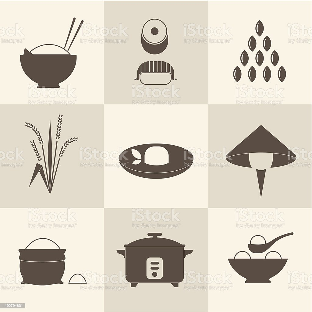 Oriental influenced icons of rice in all its forms in brown vector art illustration