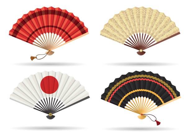 bildbanksillustrationer, clip art samt tecknat material och ikoner med orientaliska japan fläkt set - japanskt ursprung