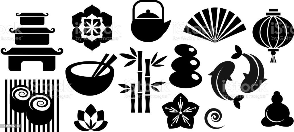 Oriental Japanese Zen icons and design elements royalty-free stock vector art