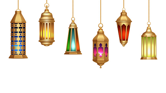 Oriental lamps. Arab lanterns hang on gold chains. Isolated realistic decorative lighting. Ramadan vector banner