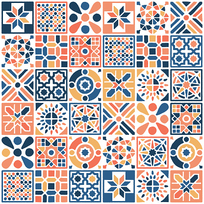 Various oriental Moroccan decorations combined to create seamless pattern illustration. Hand drawn vector graphic for creating fabrics, packaging, stationery, wallpaper designs.