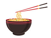 istock Oriental noodle food. Asian ramen tradition Chinese noodle restaurant with pasta and chopsticks. Vector illustration in cartoon flat style. 1187649076