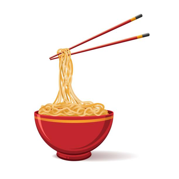 Oriental noodle food Oriental noodle food. Asian noodles isolated on white background, ramen tradition chinese restaurant image with pasta and chopsticks, vector illustration pasta stock illustrations