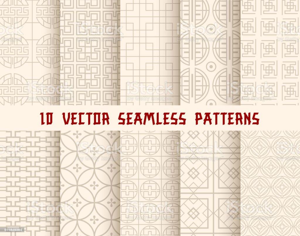 Oriental or asian seamless pattern background - Векторная графика Seigaiha роялти-фри