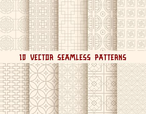 Oriental Or Asian Seamless Pattern Background — стоковая векторная графика и другие изображения на тему Seigaiha