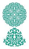 Oriental ornaments, round and triangular