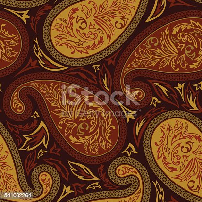 Oriental paisley seamless pattern. Vector illustration.