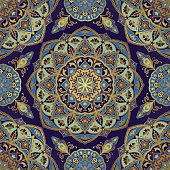Seamless, floral, ornamental background. Eastern ornament with golden lines. Template for carpet, shawl, textile, cloth. Stylized mosaic. Oriental, bright, rich pattern in blue and purple colors.