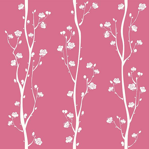 Oriental plum blossom seamless pattern Oriental plum blossom seamless pattern.  Easy to change color. plum blossom stock illustrations