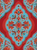 Oriental red and blue ornament.