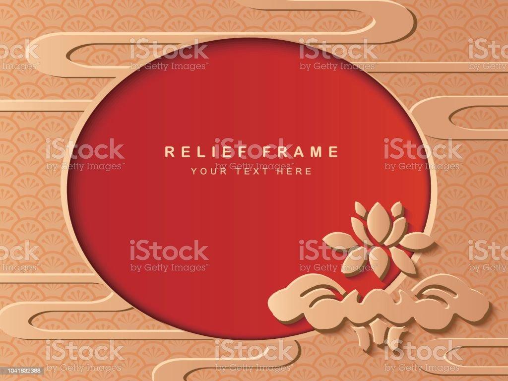 Flor de loto de relieve oriental escultura decoración Marco jardín botánico y curva nublan Resumen - ilustración de arte vectorial