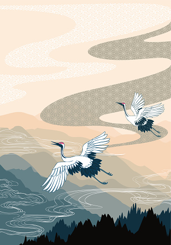 Traditional oriental mountain scenery background with cloud and crane flying drawing.