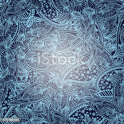 Oriental seamless paisley vector pattern. EPS 10 vector illustration with transparency.
