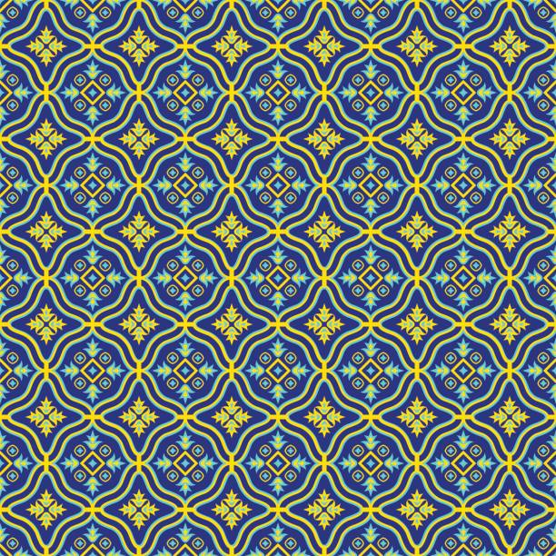 Oriental seamless pattern. Oriental seamless pattern in blue and yellow colors. Colorful eastern ornament. Vector abstract background. armenian culture stock illustrations