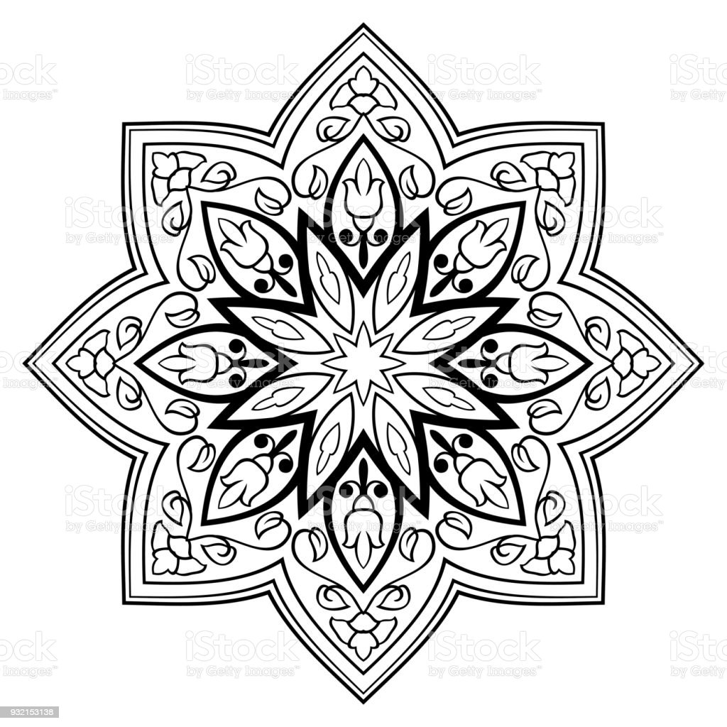 Oriental Simple Mandala Stock Vector Art & More Images of Abstract ...