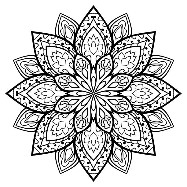 Royalty Free Simple Black Floral Orient Mandala Clip Art ...