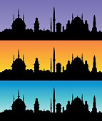 Oriental skyline silhouettes