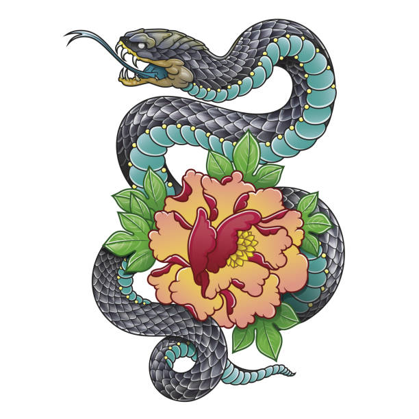 oriental snake and peony flower - snakes tattoos stock illustrations, clip art, cartoons, & icons